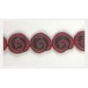Glass Bead Swirl Opaque Dark Red Matt Black Painted Strung 12x11mm